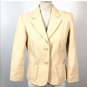 Identify Women 100% Leather Blazer Jacket Beige
